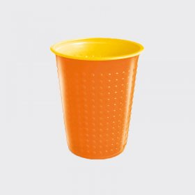 7oz Bicolour Plastic Cold Drinks Cup Orange/Yellow (40)