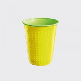 7oz Bicolour Plastic Cold Drinks Cup Yellow/Green (40)