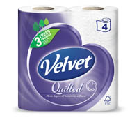Quilted Velvet Pure White Toilet Tissue 4 Pack